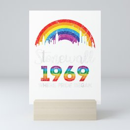 90's Style Stonewall Riots 50th NYC Gay Pride LBGTQ T-Shirt Mini Art Print