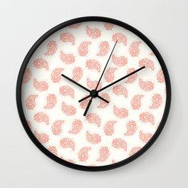 Hand drawn coral red paisley damask illustration. Wall Clock