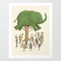 The Night Gardener - Elephant Topiary  Art Print