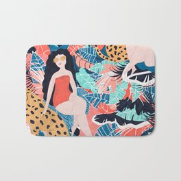 Cheetah & Tropical Girl Bath Mat