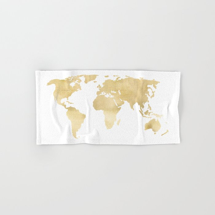 Gold World Map Hand & Bath Towel