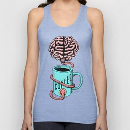 Coffee for the brain. Funny coffee illustration Unisex Tank Top