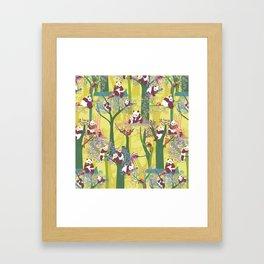 Both Species of Panda - Yellow Framed Art Print