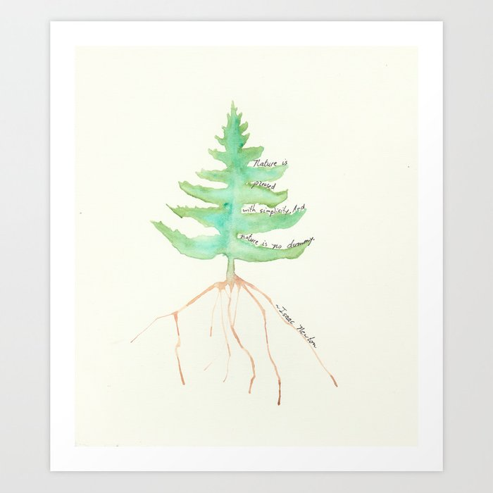 Tree with Isaac Newton Quote Art Print