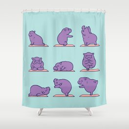 Baby Hippo Yoga Shower Curtain