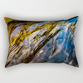 River Ripples in Copper Gold Blue and Brown Rectangular Pillow