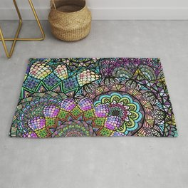 Colorful Floral Mandala Pattern with Geometric Drawings Rug