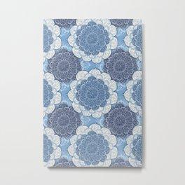 Lacy Blue & Navy Mandala Pattern  Metal Print