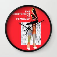 feminism Wall Clocks featuring 1920's Feminism by Profunction