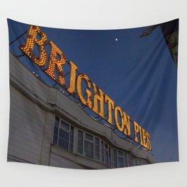 Brighton Pier at Night Wall Tapestry