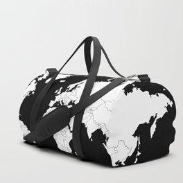 Minimalist World Map White on Black Background. Duffle Bag