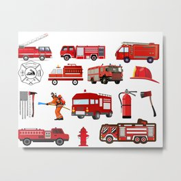 Fire Trucks Emergency Fire Hydrant Metal Print