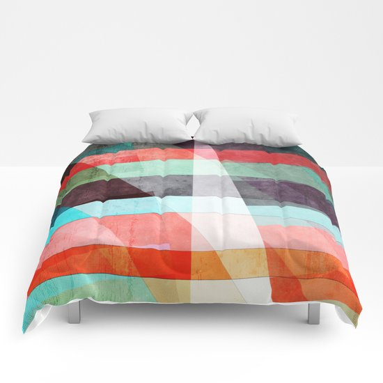 Colorful Grunge Stripes Abstract Comforters