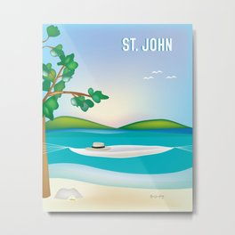 St. John, Virgin Islands - Skyline Illustration by Loose Petal Metal Print