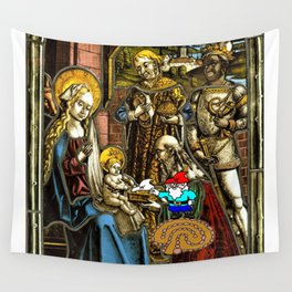 Will the Wandering Gnome Shares a White Hat with Jesus (Gnome Art) (Christmas Art) Wall Tapestry