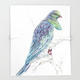 Mr Kereru, New Zealand native wood pigeon Throw Blanket