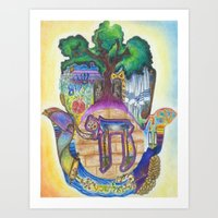 jewish Art Prints featuring Jewish Hamsa by Jewish Art by Brooke Sendele