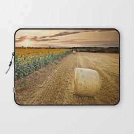 Sunset over the sunflowers field Laptop Sleeve
