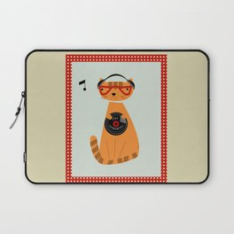 the cat loves good music Laptop Sleeve
