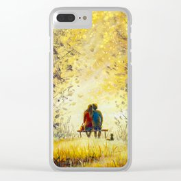 Oil painting romance and love. A loving couple and cat - young man and beautiful girl are sitting Clear iPhone Case