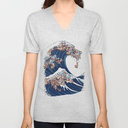 The Great Wave of Dachshunds Unisex V-Neck