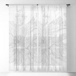 Mount Rainier, WA Contour Map In White Sheer Curtain