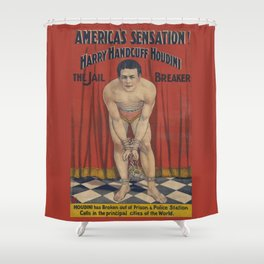 Harry Handcuff Houdini Magician Vintage Poster Shower Curtain