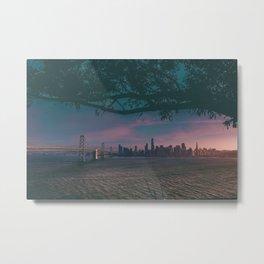 Dark San Francisco Sunset Bridge (Color) Metal Print