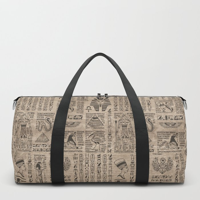 Egyptian hieroglyphs and symbols on wood Duffle Bag