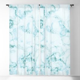 Aqua marine and white faux marble Blackout Curtain