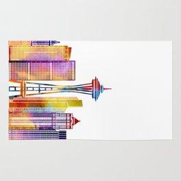 Seattle landmarks watercolor poster Rug