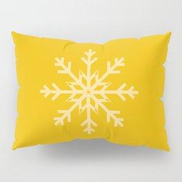 Snowflake on Golden Yellow Sun Glow Pillow Sham