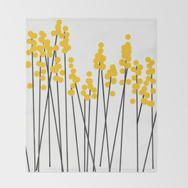 Hello Spring! Yellow/Black Retro Plants on White #decor #society6 #buyart Throw Blanket