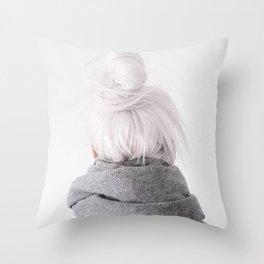 grey hair Throw Pillow