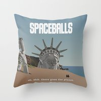 planet of the apes Throw Pillows featuring Spaceballs: Planet of the Apes by Preston Porter
