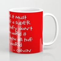 calvin and hobbes Mugs featuring Calvin and Hobbes quote by Dustin Hall