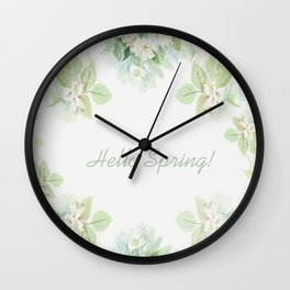 Spring floral watercolor painting & Quote Wall Clock