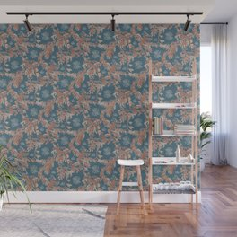 Water Swingers in Deep Wave ( leafy sea dragon pattern in teal and coral ) Wall Mural