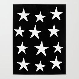 Star Pattern White On Black Poster