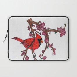 Cardinal on Redbud Branch Laptop Sleeve