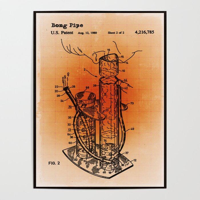 Bong Patent Blueprint Drawings Sepia Poster