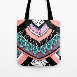 Pink & Coral Feather Pattern Tote Bag