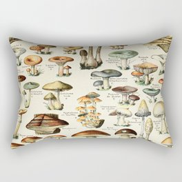 Vintage Mushroom & Fungi Chart by Adolphe Millot Rectangular Pillow