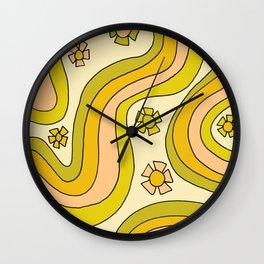 groovy rainbow flower power wallpaper vibes Wall Clock