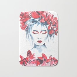 Watercolor flower girl 3 Bath Mat