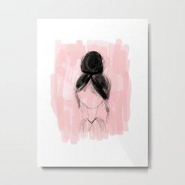 Messy Bun - pink hand drawn art Metal Print