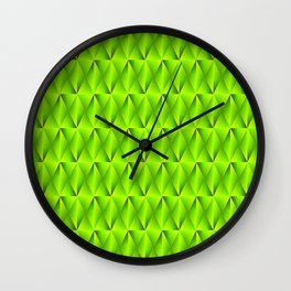 Trickling iridescent green rhombs from black triangles with volume. Wall Clock