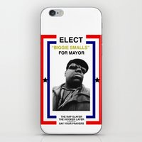 biggie smalls iPhone & iPod Skins featuring Biggie Smalls for Mayor by tracygrahamcracker