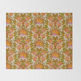 Orange, Pink Flowers and Green Leaves 1960s Retro Vintage Pattern Throw Blanket