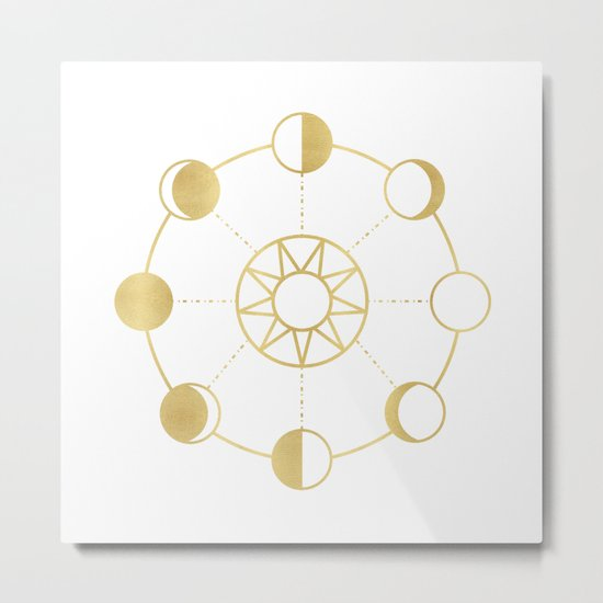 Gold Moon and Sun Phases Metal Print